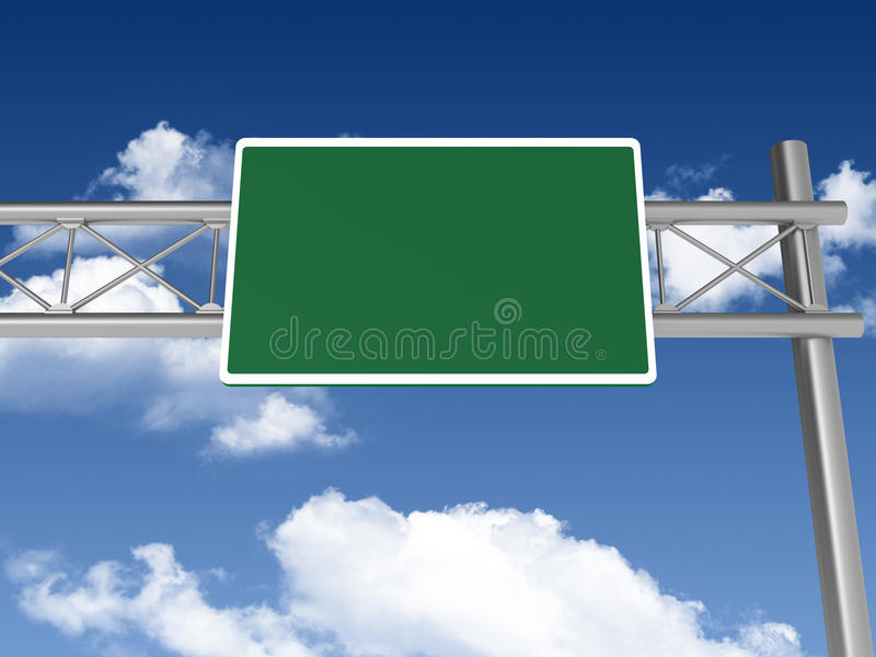 Blank Highway Sign. Three dimensional illustration of Blank Highway Sign stock illustration