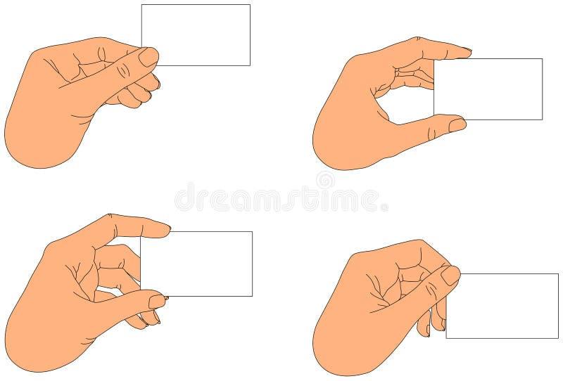 blank holding för hand för affärskort vektor illustrationer
