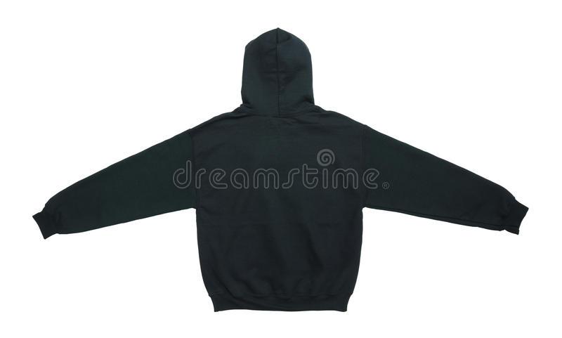 blank hoodie sweatshirt color black back view stock images