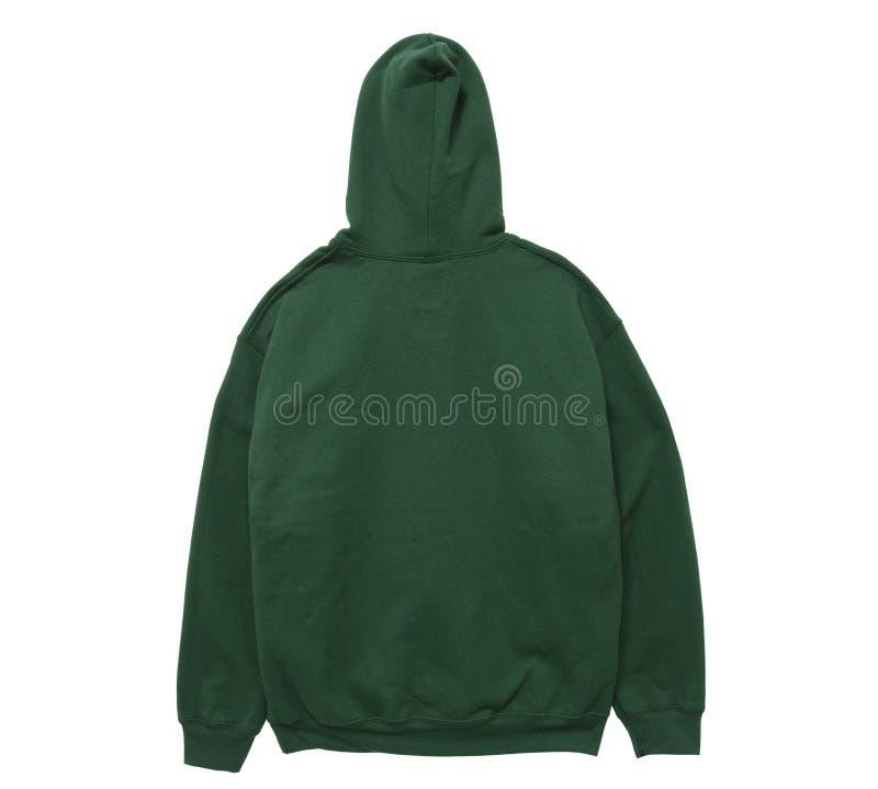 Blank hoodie sweatshirt color green back view stock photography