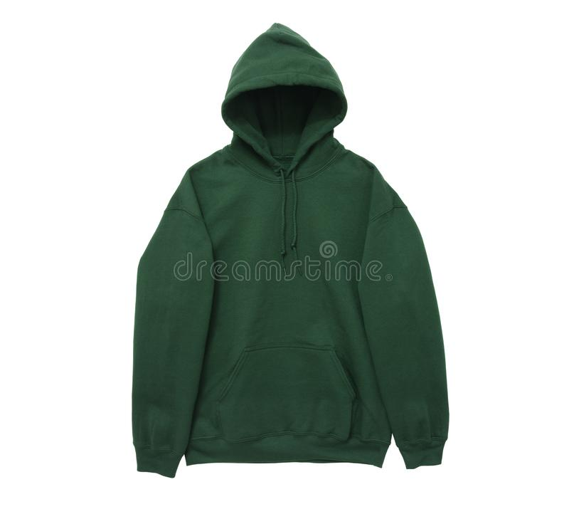 Blank hoodie sweatshirt color green front arm view royalty free stock photography