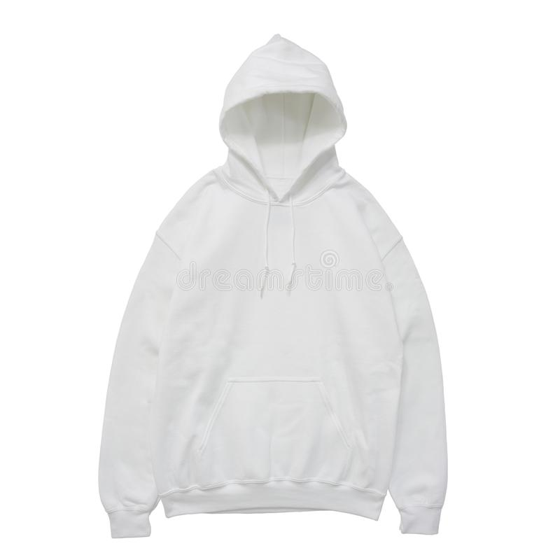 Blank hoodie sweatshirt color white front view stock image
