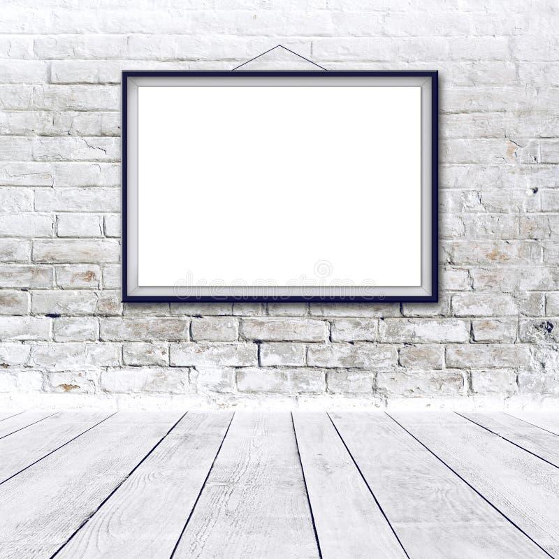 Blank Horizontal Painting Poster In Black Frame Stock