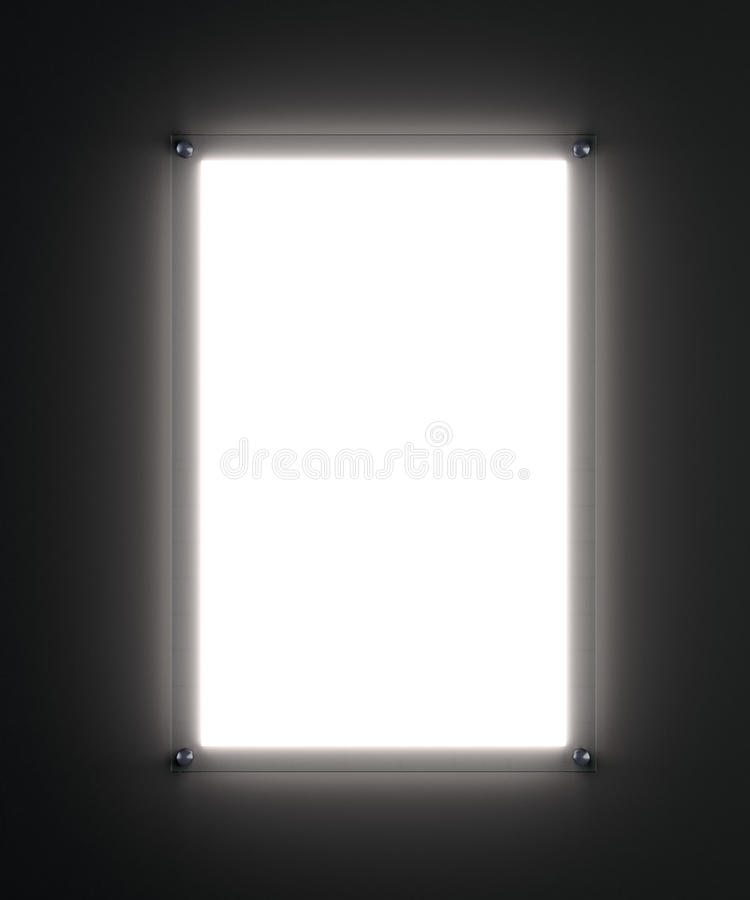 Blank illuminated white poster mockup. Blank white poster mockup in illuminated glass holder, 3d rendering. Template for your design royalty free stock photography