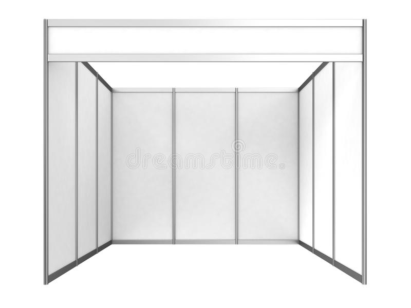 Blank Indoor Exhibition Trade Booth. 3D render on white royalty free illustration