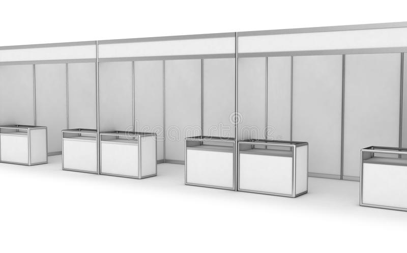 Blank Indoor Exhibition Trade Booth. 3D render on white vector illustration