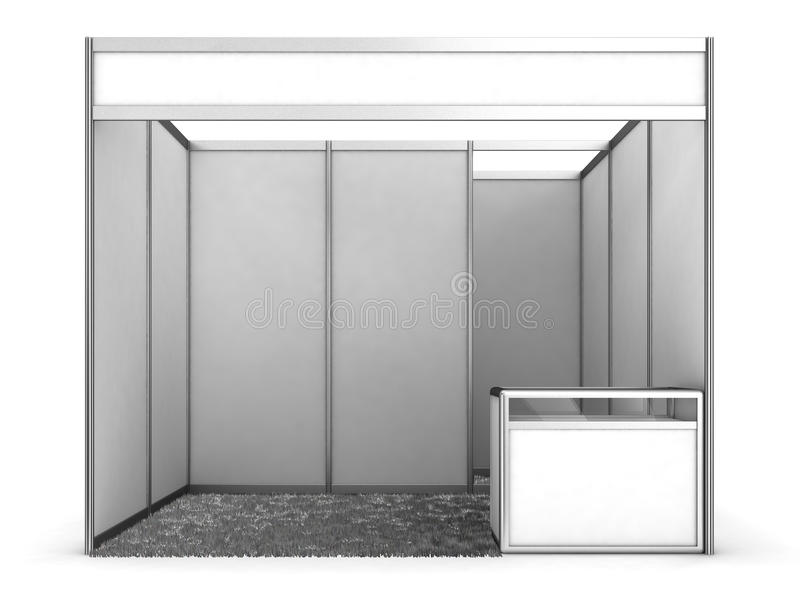 Blank Indoor Exhibition Trade Booth. 3D render on white stock illustration