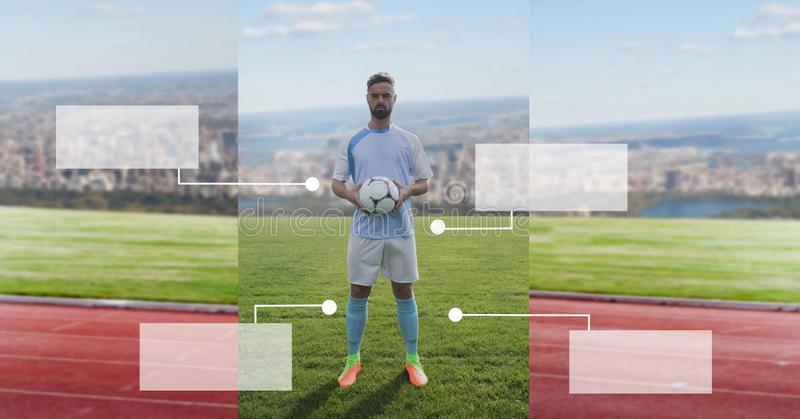 Blank infographic panels and Soccer player on grass with city. Digital composite of Blank infographic panels and Soccer player on grass with city stock image
