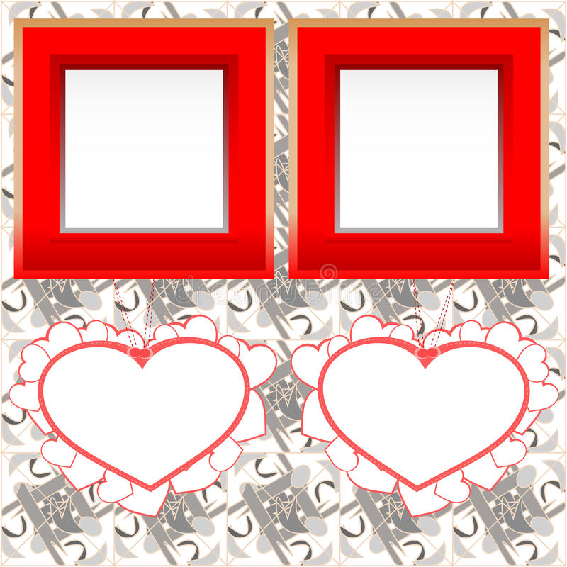 Download Blank Instant Photo Frames With Heart On Wood Stock Illustration - Illustration of gift, lovely: 22963925