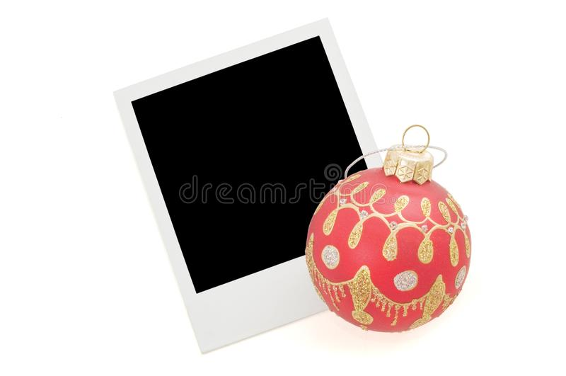 Blank instant photo and red christmas ballon stock images