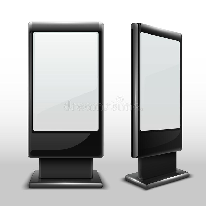 Blank interactive outdoor kiosk. Digital tv standing touch screen isolated vector mockup. Display kiosk stand, blank mockup advertising touch screen stock illustration