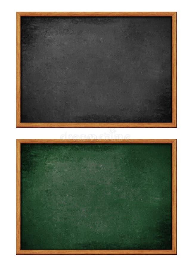 Blank isolerade svarta och gröna bräden som ställs in fotografering för bildbyråer