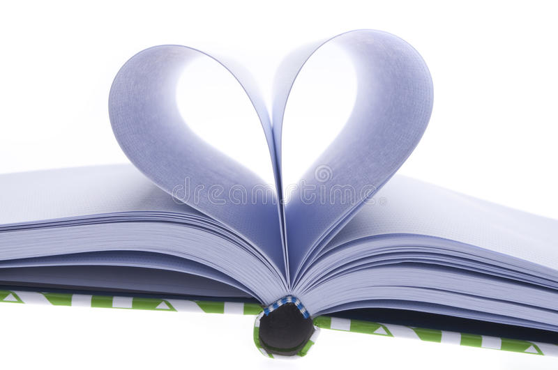Blank Journal with Pages Folded in a Heart Shape. In Shadow on a White Background royalty free stock images
