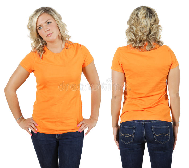 blank kvinnligorangeskjorta royaltyfri fotografi
