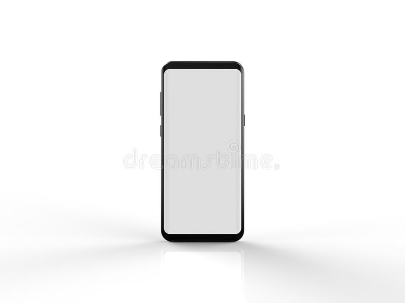 Blank latest samsung galaxy s8 plus mobile screen mock up on white background 3D illustration stock illustration