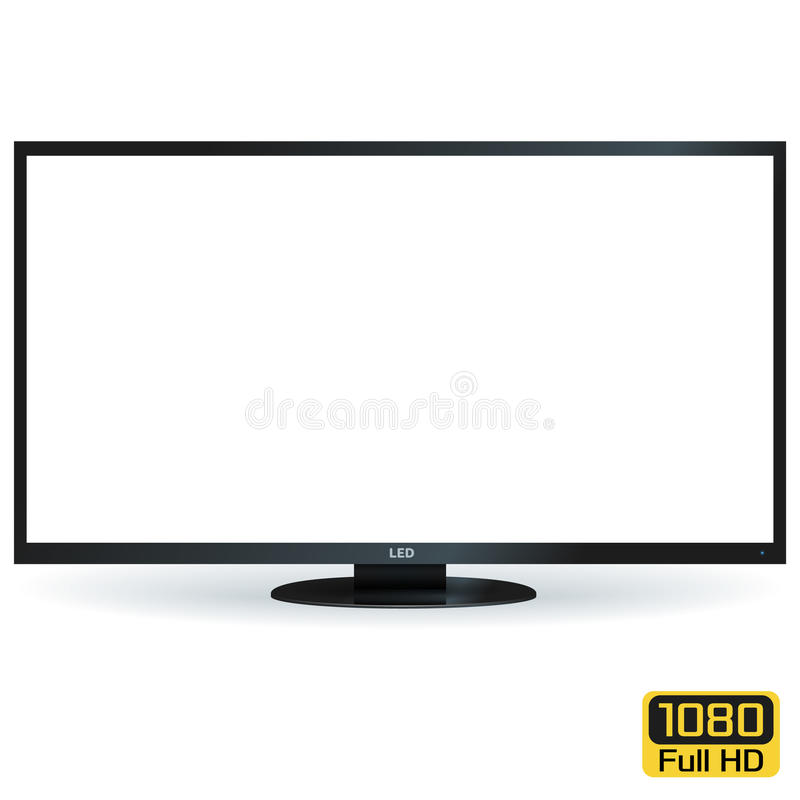 Blank LCD LED TV with White Screen. Vector Illustration. Blank LCD LED TV with White Screen. Vector Background stock illustration