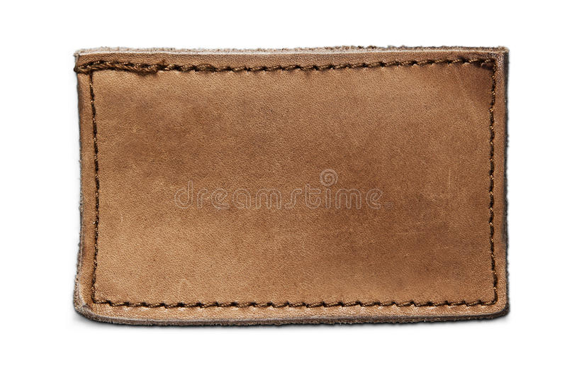 Blank leather jeans label isolated. On white stock images