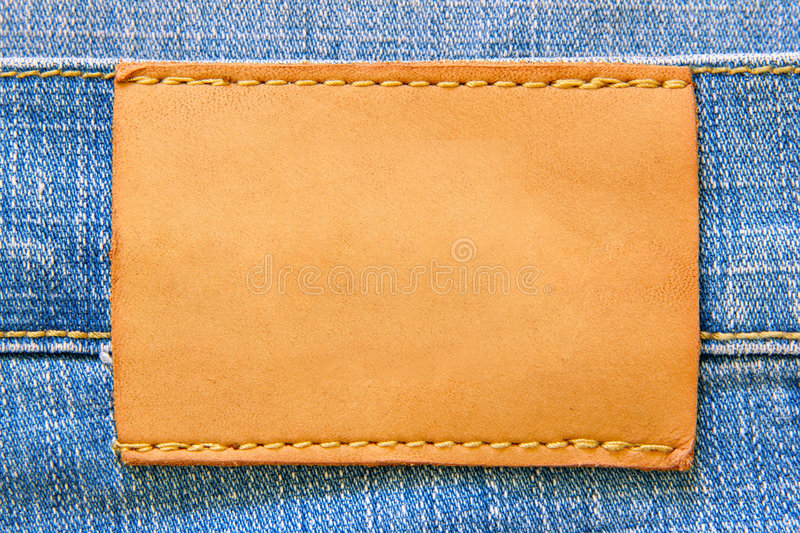 Blank leather label. For your own text stock photography