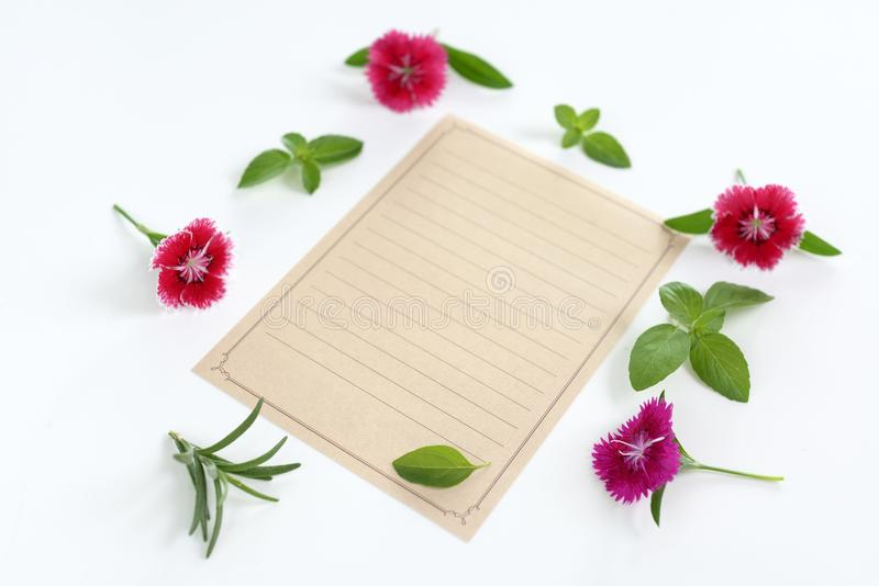 Blank letter. On the table stock image