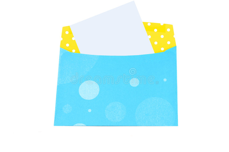 Blank letter envelope. Yellow and blue envelope with blank note or letter on a white background stock photos