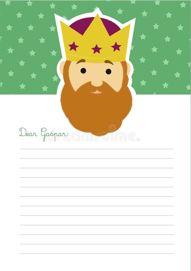 Letter template to king Gaspar. Blank letter to king Gaspar with an illustration of his head at the top on a green background with stars royalty free illustration