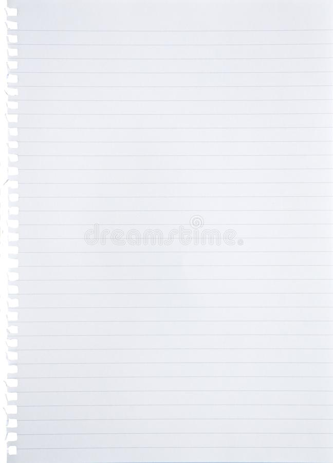 Blank lined white paper sheet torn out from notebook background with blue lines, margin and holes with copy space - isolated royalty free stock photography