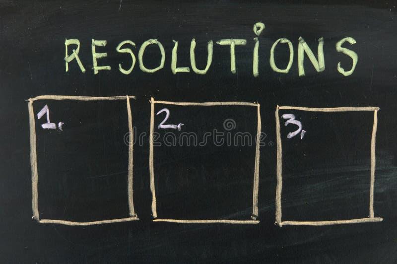 Blank list of resolutions on blackboard stock photo
