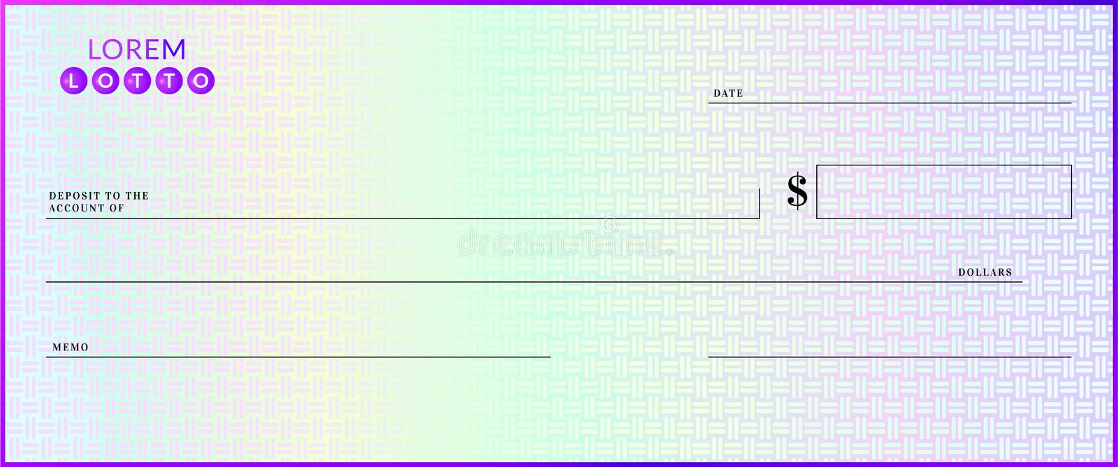 Blank lottery check template. Fake cheque page mockup royalty free illustration