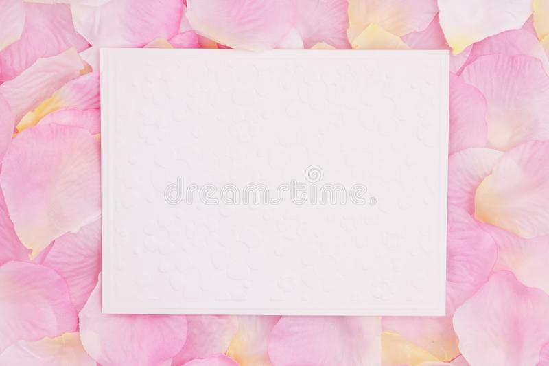 Blank love greeting card on pink rose flower petals royalty free stock photo