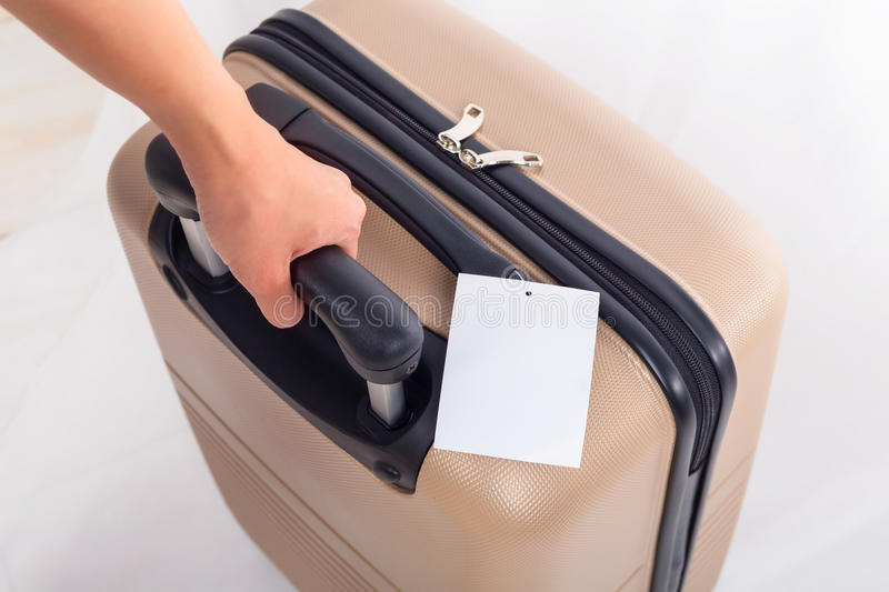 Blank of luggage tag on suitcase, Travel concept. Blank of luggage tag on suitcase, Travel concept royalty free stock image