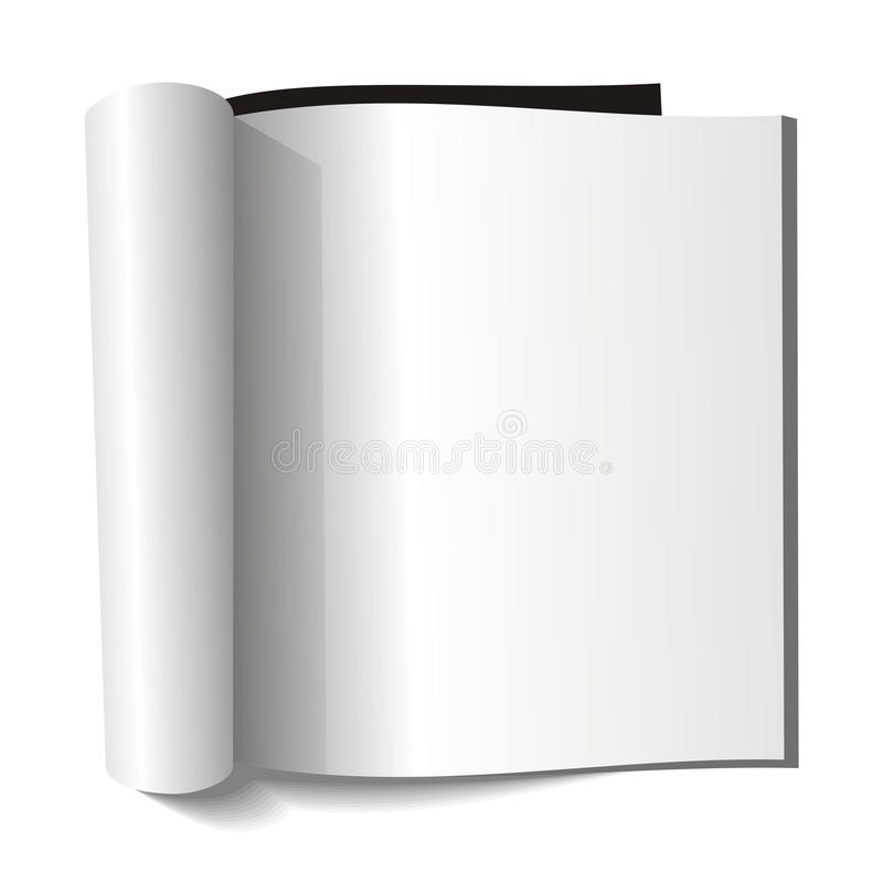 Blank magazine. Blank page. Blank open book on white background stock illustration