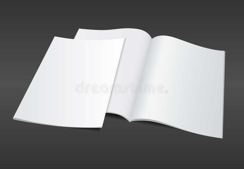 blank magazine illustration on dark background stock illustration