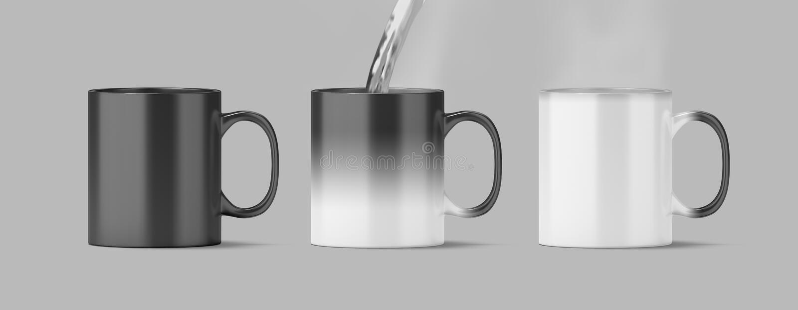 Blank magic mug mock up isolated, cold and hot state, royalty free stock photos