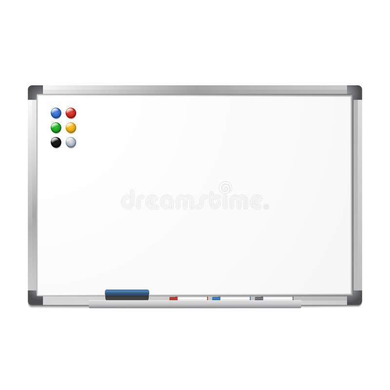 Blank magnetic dry erase whiteboard royalty free illustration