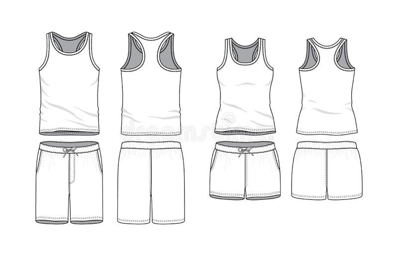 Blank clothing templates. royalty free illustration