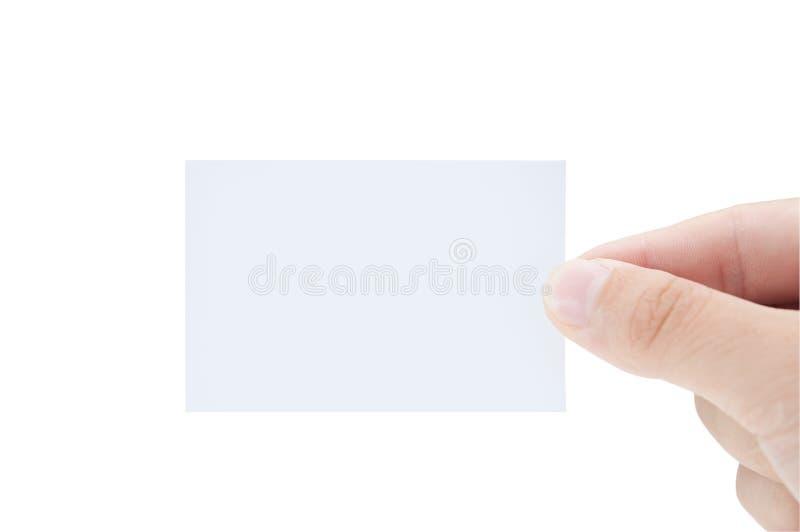 blank manlign för handen för affärskortet isolerade holdingen fotografering för bildbyråer