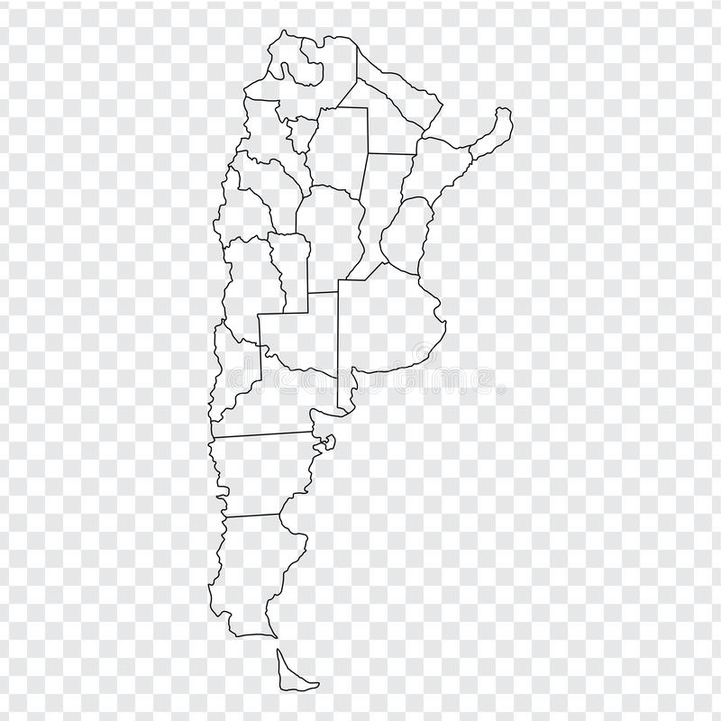 Blank map Argentina. High quality map Argentina with provinces on transparent background for your web site design, logo, app, UI. Stock vector. Vector stock illustration