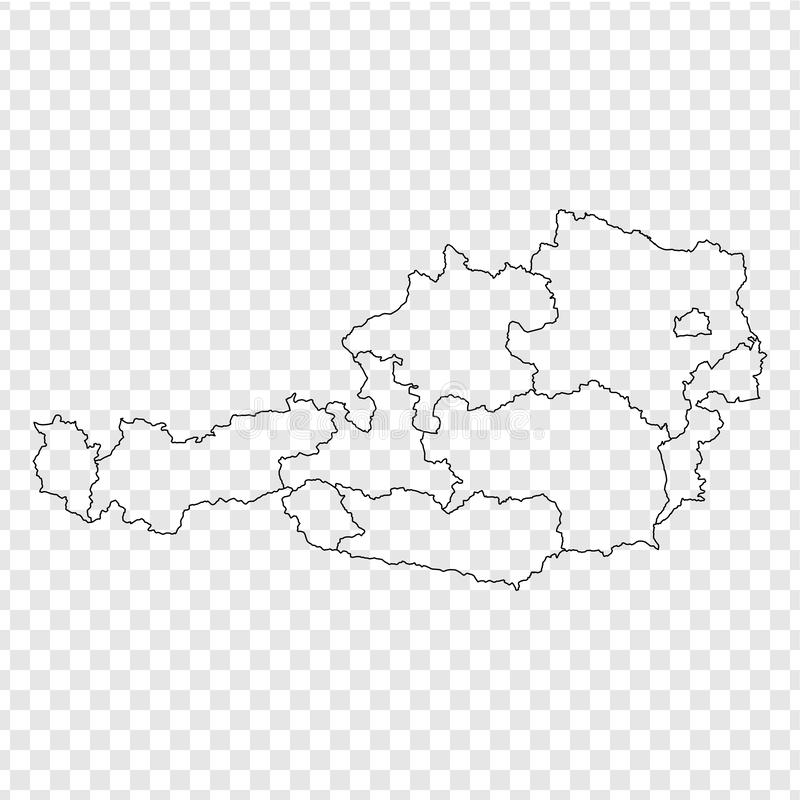 Blank map Austria. High quality map Austria with provinces on transparent background for your web site design, logo, app, UI. Stock vector. Vector illustration vector illustration