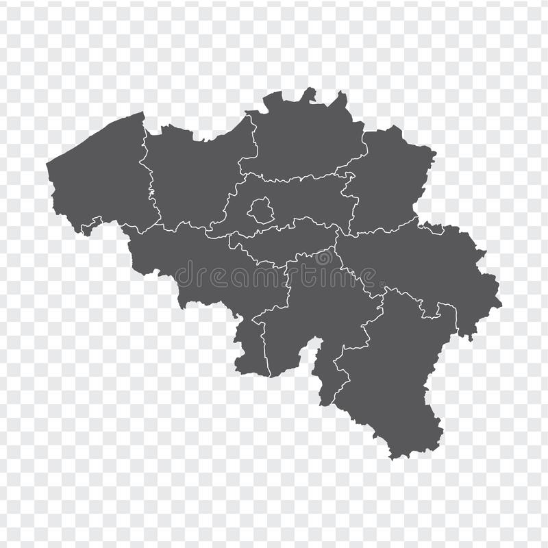 Blank map Belgium. High quality map Belgium with provinces on transparent background for your web site design, logo, app, UI. Stock vector. Vector illustration vector illustration