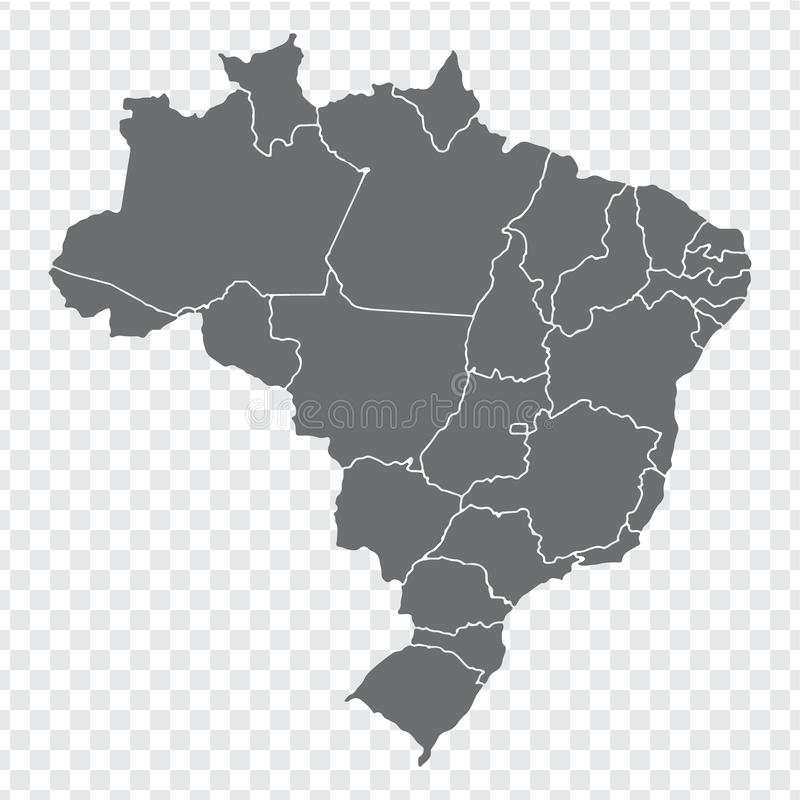 Blank map Brazil. High quality map Brazil with provinces on transparent background for your web site design, logo, app, UI. Stock. Vector. Vector illustration vector illustration