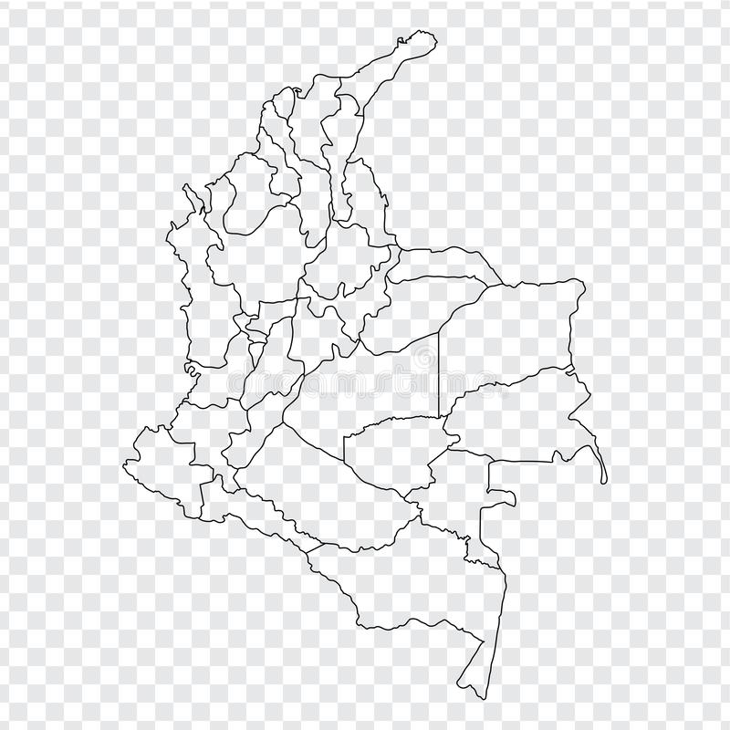 Blank map Colombia. High quality map Colombia with provinces on transparent background for your web site design, logo, app, UI. Stock vector. Vector stock illustration