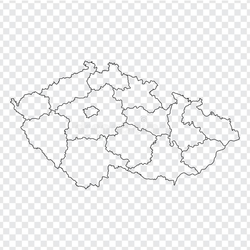 Blank map Czech. High quality map Czech with provinces on transparent background for your web site design, logo, app, UI. Stock vector stock illustration