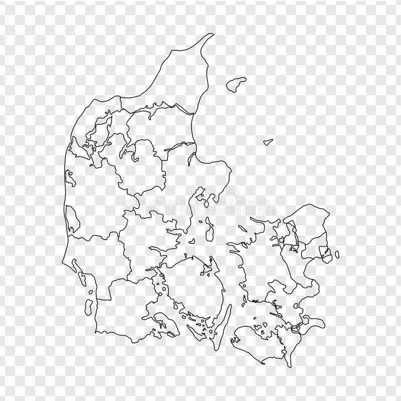 Blank map Denmark . High quality map Kingdom of Denmark with provinces on transparent background for your web site design, logo, a. Pp, UI. Stock vector. Vector vector illustration