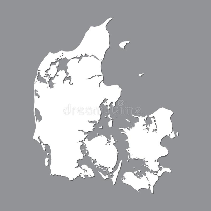Blank map Denmark . High quality map Kingdom of Denmark on gray background for your web site design, logo, app, UI. Stock vector. Vector illustration EPS10 stock illustration
