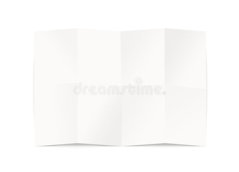Blank map design mockup, isolated, clipping path, 3d illustration. Folded chart template mock up display. Clear draft plan paper sheet front view. Pattern stock illustration