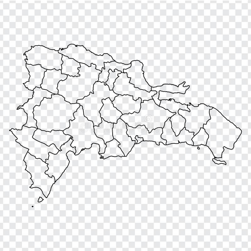 Blank map Dominican Republic. High quality map of  Dominican Republic with provinces on transparent background for your web site d. Esign, logo, app, UI. Stock royalty free illustration