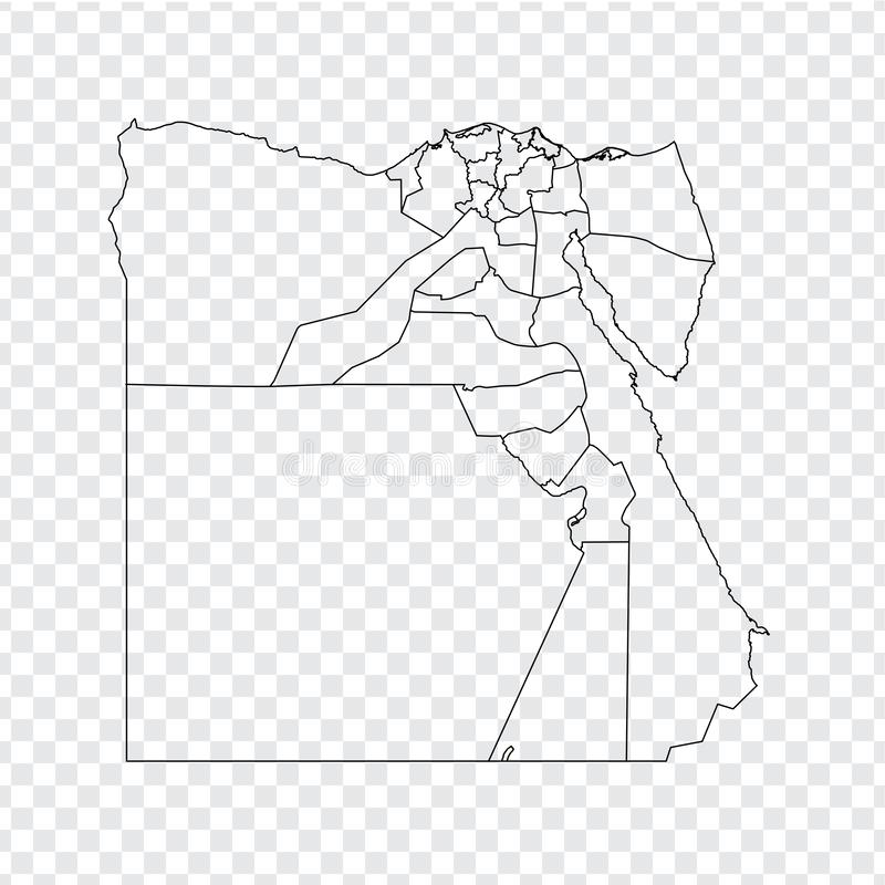 Blank map Egypt. High quality map Egypt with provinces on transparent background for your web site design, logo, app, UI. Stock vector stock illustration