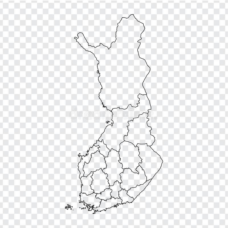 Blank map Finland. High quality map of Finland with provinces on transparent background for your web site design, logo, app, UI. Stock vector. Vector stock illustration