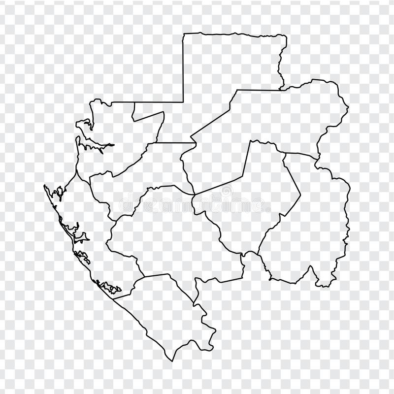 Blank map Gabon. High quality map Gabonese Republic with provinces on transparent background for your web site design, logo, app,. UI. Stock vector.  EPS10 vector illustration