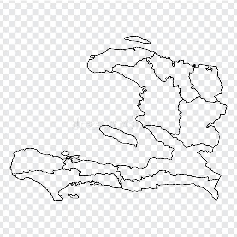 Blank map Haiti. High quality map of  Haiti with provinces on transparent background for your web site design, logo, app, UI. Stock vector.  EPS10 stock illustration